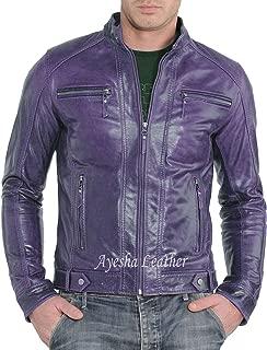 Ayesha Men's Stylish Genuine Lambskin Motorcycle Biker Leather Jacket 312