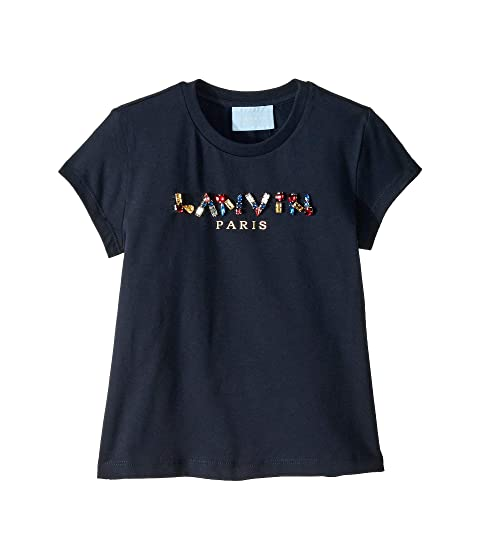 Lanvin Kids Short Sleeve Jewel Embellished Logo T-Shirt (Toddler/Little Kids)