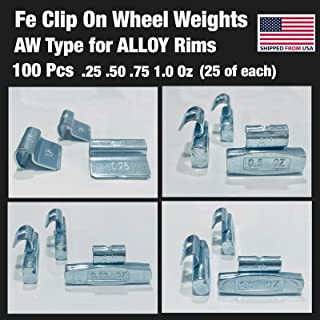 Gallardo Tire Products 100 Pieces assortments Fe Clip ON Wheel Weights .25 .50 .75 1.0 (25 of Each) Alloy Rim AW Type