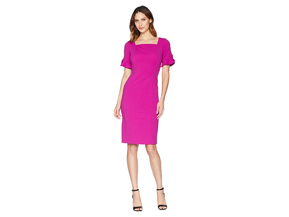 3607b06624 Donna Morgan Midi Length Crepe Dress with Flutter Sleeve (Orchid) Women