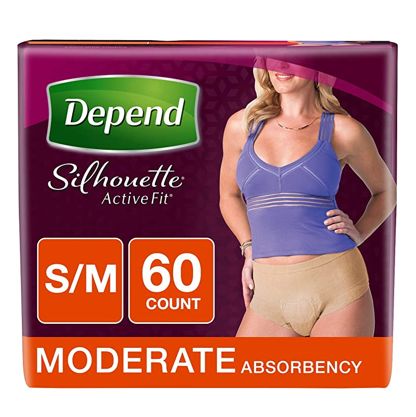 Depend Silhouette Active Fit Adult Diapers for Women, Moderate Absorbency, S/M, Beige, 60 Count
