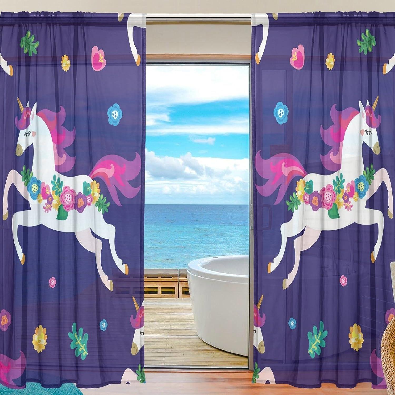 Vantaso Sheer Curtains 78 inch Long Sweet Unicorn Floral for Kids Girls Bedroom Living Room Window Decorative 2 Panels