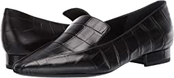 Black Croc Print Leather