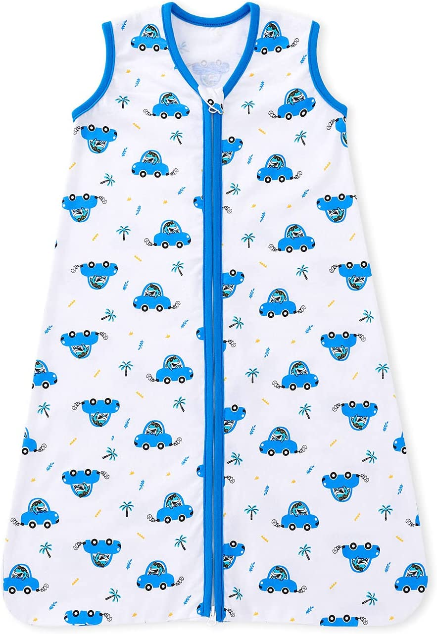 bonbonPomme Baby Toddler Sleep Sack 0.5 TOG Sleeveless Cotton 2-Way Zipper Wearable Blanket Sleeping Bag for Infant Boys Girls 0-24 Months (Allover Shark in Sunglasses, 12-18 Months)