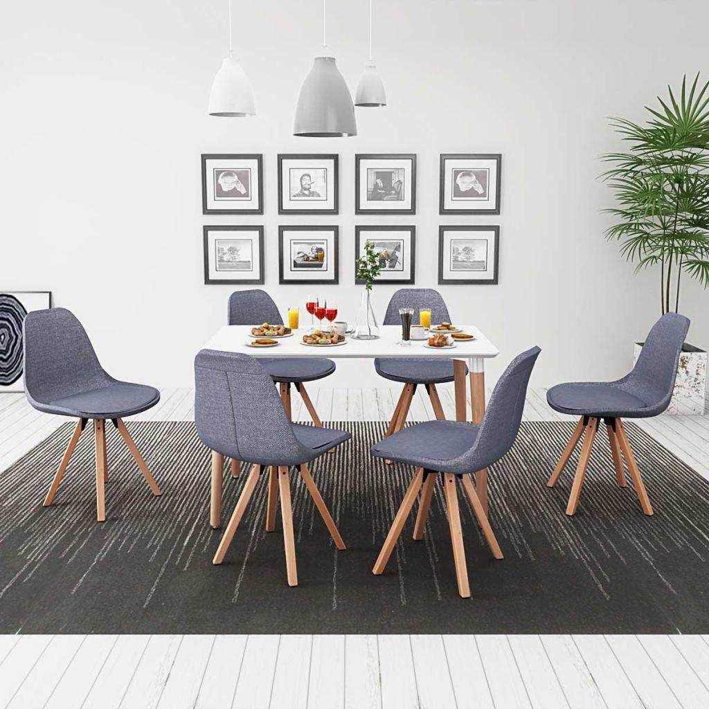 Luckyfu esta 7 Unidades Juego de Mesa y sillas de Comedor Color Blanco y Gris Claro.