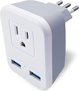 SOKOO Travel Adapter Plug with Dual USB Ports, Mini Power Outlet for International Worldwide Trip(Type L), USA to Italy, Ethiopia, Lybia, Syria, Tunisia, Chile, Uruguay, Fast Compact USB Wall Charger