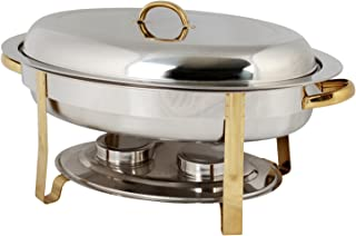 Excellanté Stainless Steel 6 Quart Gold Accented Oval Chafer