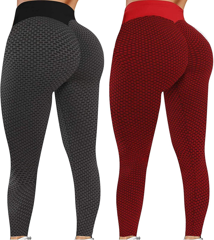 Womens Butt Lift Legging 2 Pcs TIK Tok Leggings High Waisted But