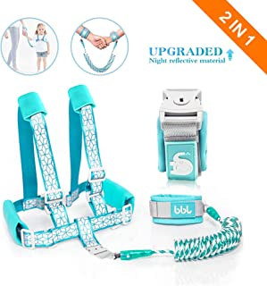 Toddler Harness Walking Leash- Child Anti Lost Wrist Link - Child Safety Harness - Upgrade with Reflective Tape Liner(6.5ft)- for 1-12 Years Boys and Girls to Disneyland, Zoo or Mall (Cyan Leash)