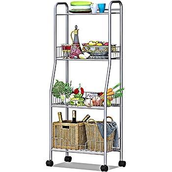 キッチンラック 野菜収納 メタルラック キャスター付き 4段 省スペース ラック本体のみ 多機能 幅48.5×奥行35×高さ121cm