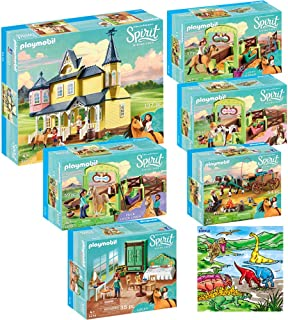 Playmobil Spirit Riding Free Mega Toys Kit, Includes Lucky's Happy Home, Bedroom, Dad & Wagon, Horse Stall, PRU & Chica Linda with Horse Stall with Dimple Washable Coloring Playmat