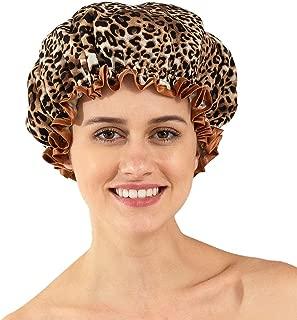 Joemoon Long Hair Shower Cap Women Fabric Eco Waterproof Lined Washable 3 Pack