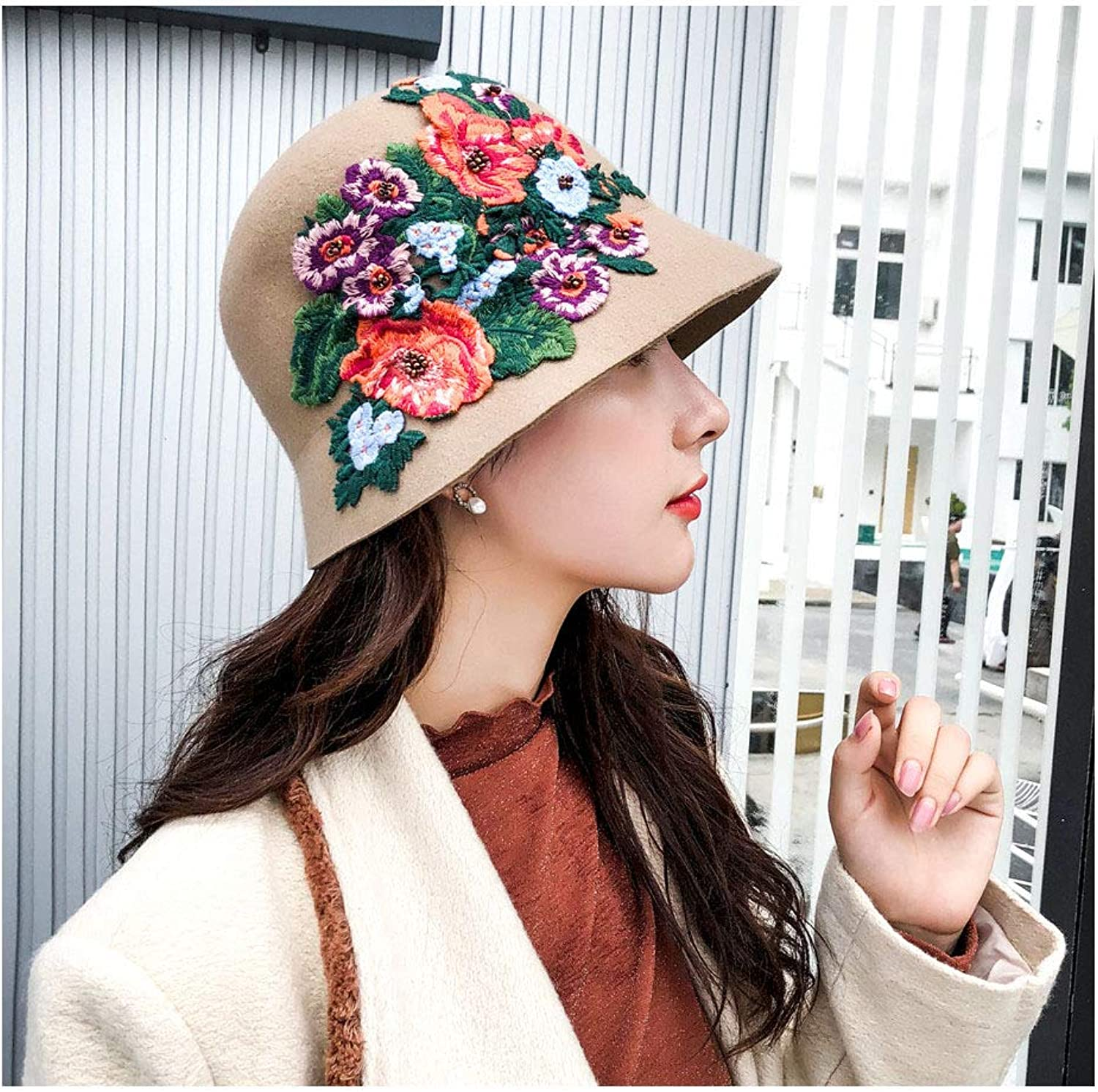 Fashion Hats, Caps,Elegant Hats, Natural Caps Wool Felt Hat National Style Female Fedoras HandCrocheted Peony Floral Dome Bucket Fedora Hats for Women (color   Tan, Size   5658cm)