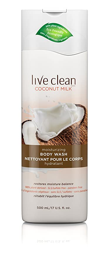 筋肉の通知する家Live Clean Coconut Milk Moisturizing Body Wash, 17 oz.