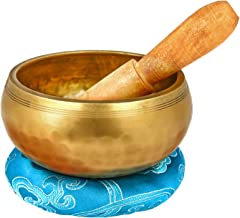 Reehut 4.2'' Tibetan Meditation Yoga Singing Bowl Set, Hand Hammered Singing Bowl With Mallet & Silk Cushion, For Meditation, Chakra Healing, Prayer, Yoga and Mindfulness