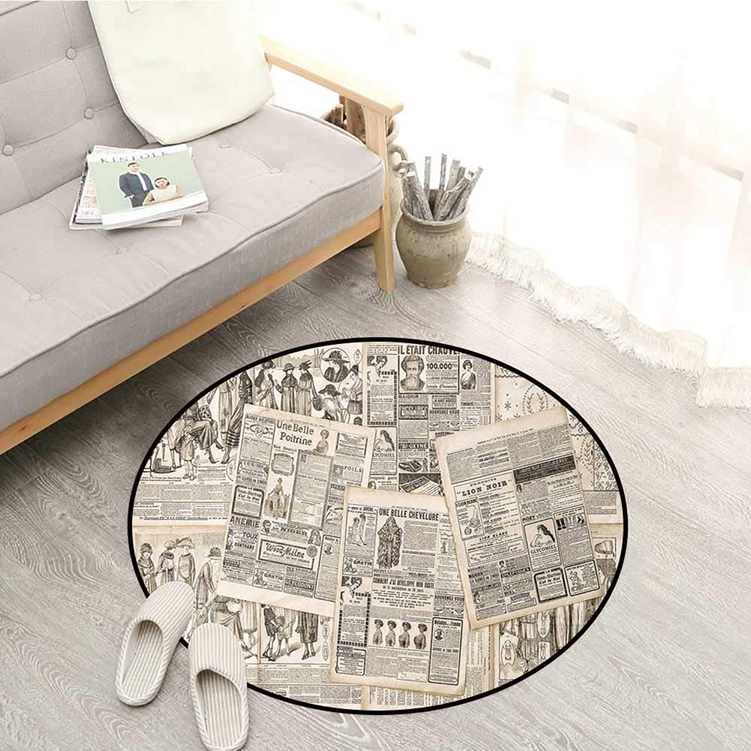 Old Newspaper Decor Kids Rugs Nostalgic Aged Pages with Antique Adgreenising Fashion Magazines Print Sofa Coffee Table Mat 4'3  Black Tan