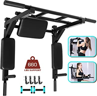 Bkisy Wall Mounted Pull Up Bar 440LBS Dip Bar Wall Mount Dip Station Multi-Grip Wall Mount Dip Bar Power Tower Pull Up Bars Wall Mount Chin Up Station Dip Stand for Indoor Home Gym Training Equipment