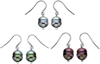 Multi-Color Freshwater Cultured Pearl Drop Earring Set in Sterling Silver