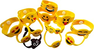 (48-Pack Emoji) - O'Hill 48 Pack Mixed Emoji Wristband Bracelets for Birthday Party Supplies Favours Prize Rewards