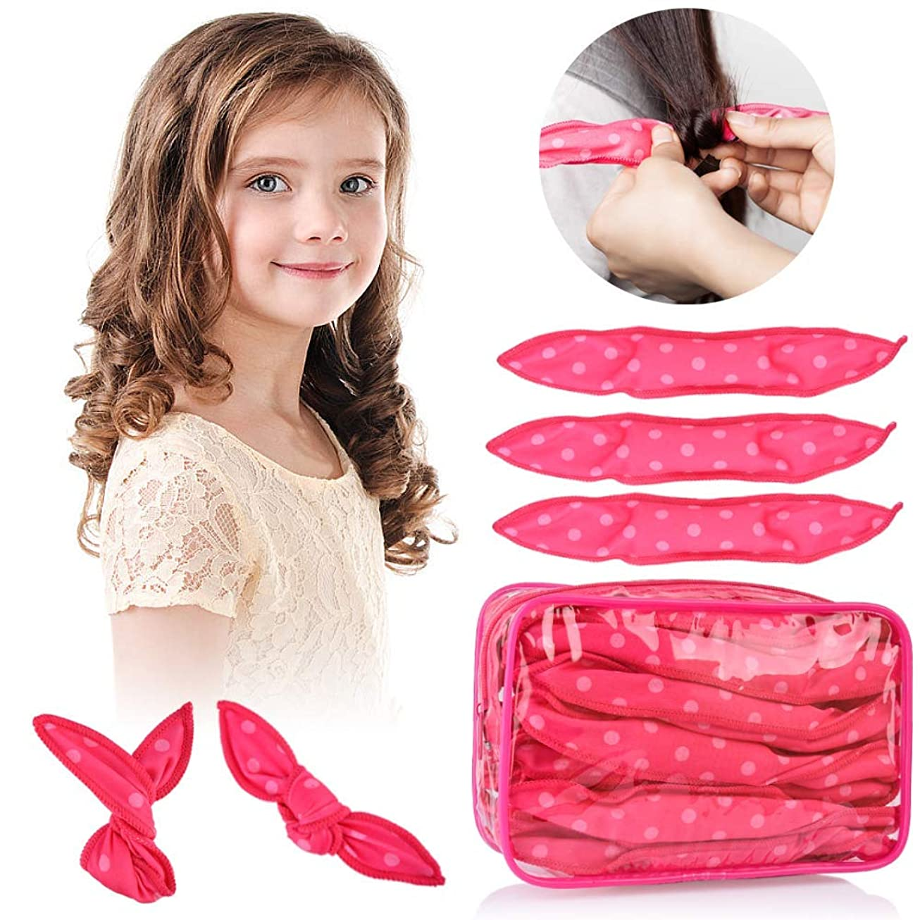 HailiCare ヘアカーラー スポンジ ヘアカーラーマジック 手巻きカーラー 30枚 ヘアケアスタイリング 巻き髪 前髪 寝ながら ヘアスタイル 可愛い 髪に無害 ピンク (ピンク)