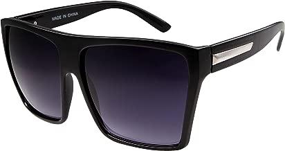 Large Retro Style Square Aviator Flat Top Sunglasses Black, Black, Size One Size