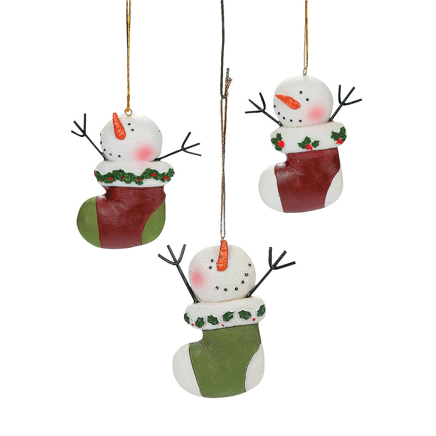 Image of 12 Piece Cute Snowman Ornaments