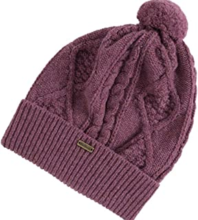 Barbour Sub Women's Wool Bobble Cable Knit Beanie, Huckleberry One Size