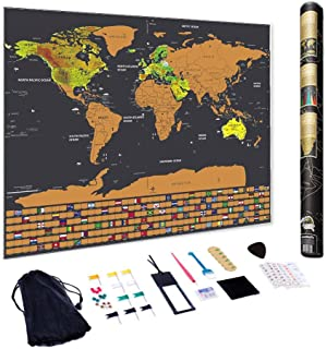 Scratch of Map Off The World, Scratchable Travel Wall Art, Large World Map Poster, 33 x 24 Inches | Vintage Map, Travel Tr...