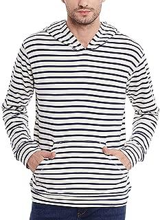 Urban Fashion striper Full Sleeves V Neck Hooded Fleece Sweatshirt for men