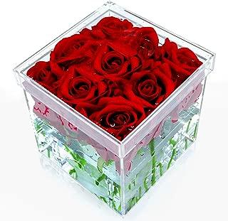 NEWCREA Acrylic Rose Flower Box, Water Holder Flower Pot,Wedding Flower Gift Box,9 Holes …