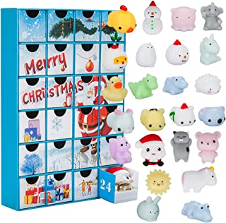 BTOOP Christmas Advent Calendar 24 Different Cute Mochi squishies Including Santa Super Gift 24 Kawaii Squishy Toys Count Down (Santa - Blue)