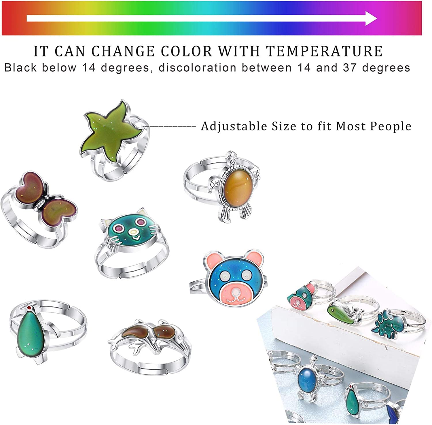 Subiceto 12 Pcs Adjustable Mood Ring for Women Mixed Animal Color Changing Rings Party Favor Costume Play Feeling Change Ring Set