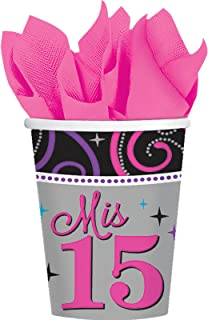 Elegant Mis Quince Años Birthday Party Paper Cups Drinkware (8 Pack), Black/Gray, 9 oz.