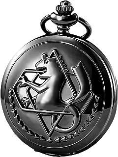 Pocket Watch Fullmetal Alchemist Edward Elric Anime with Fob Chain Necklace Box, Black