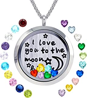 Floating Living Memory Locket Pendant Necklace Family Tree of Life Birthstone Necklaces
