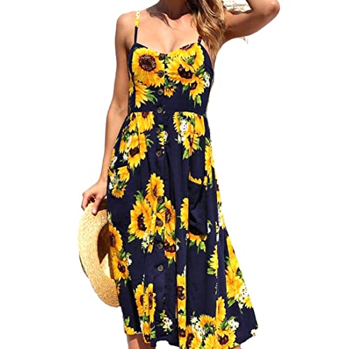 509adf039c8d U-WARDROBE Womens Summer Floral Dresses Bohemian Printed Beach Dresses for  Women Button Down Midi