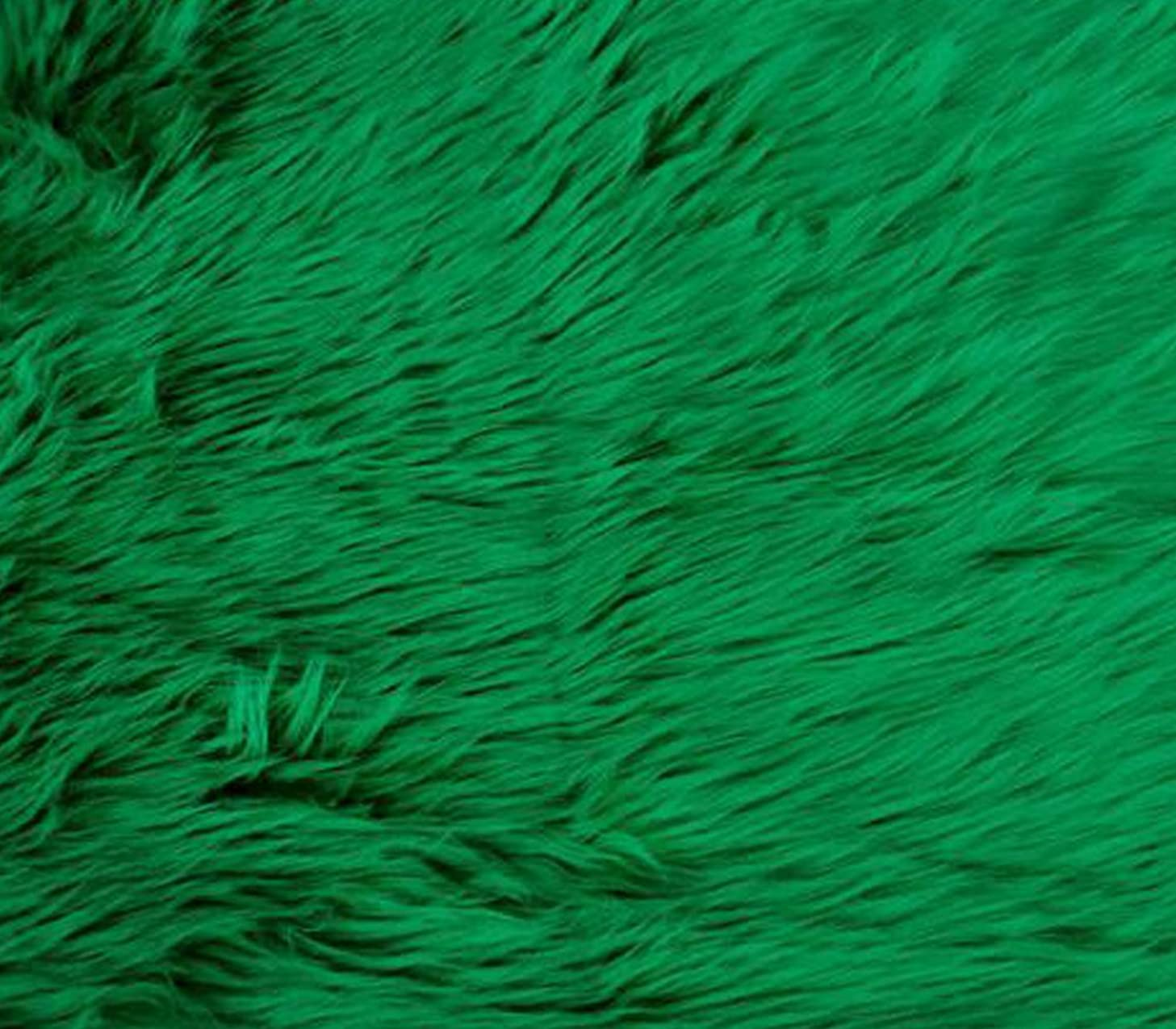 Faux Fake Fur Fabric Long Pile Solid Shaggy Kelly Green / 60