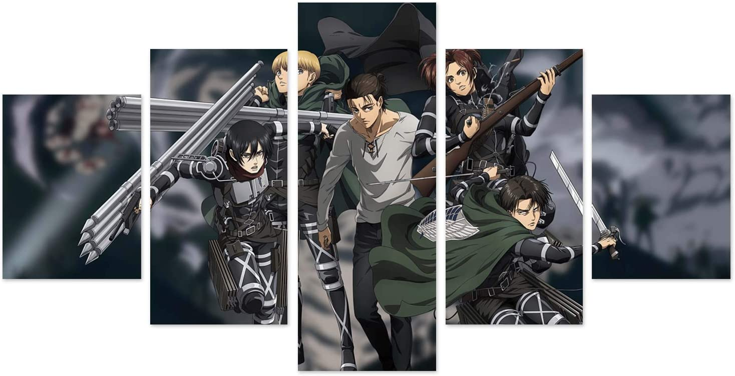 JUSIEKY Attack On Titan Posters Season 4 Eren Poster Canvas Prints 5 Pieces Anime Wall Art for Living Room Bedroom Anime Expo Decor Boy Gift (Unframed, Eren Yeager)