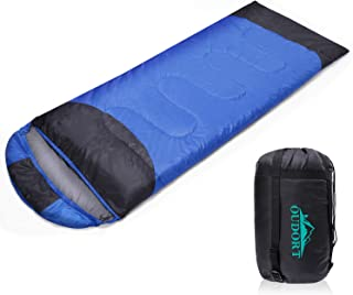 Oudort Sleeping Bag for Adults and Kids, 4 Season Lightweight and Waterproof Outdoor Sleeping Bag with Compression Sack for Camping/Traveling/Hiking/Backpacking, Warm & Cold Weather (Right Zip)