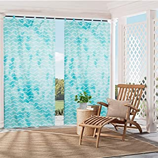 """HGmart Patio Outdoor Curtain Waterproof Privacy Panel UV Protection for Porch Gazebo Deck Geometric Wave Tab Aqua 50""""x84""""1..."""