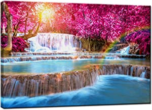Nachic Wall - Forest Sunset Canvas Wall Art Dreamlike Blue Waterfall Pink Purple Forest Landscape Pictures Paintings on Canvas Artwork Modern Living Room Office Decoration Framed Ready to Hang