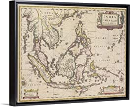 Antique map of Southeast Asia Black Floating Frame Canvas Art, 22