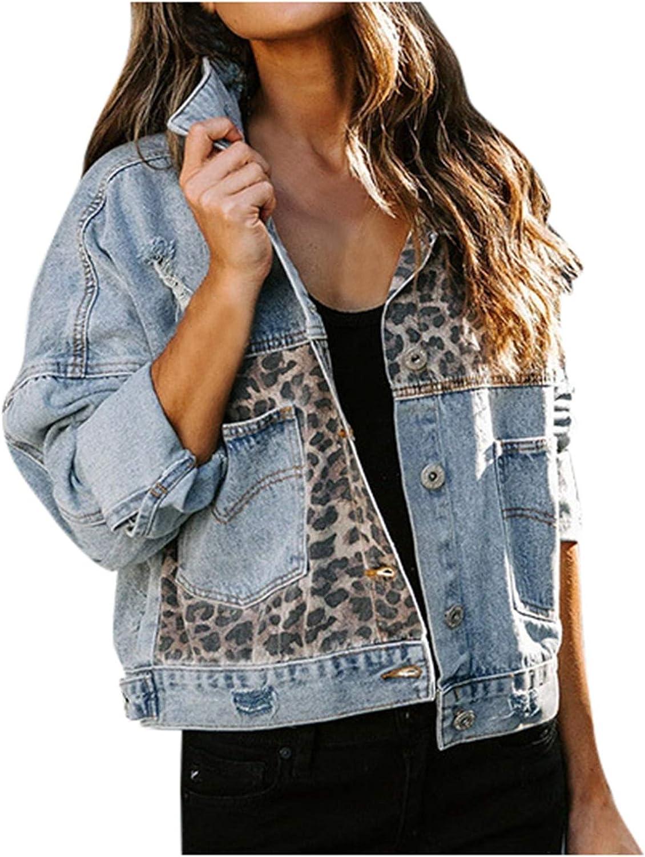 Womens Leopard Patchwork Jean Denim Jacket,Long Sleeves Boyfriend Button Down Fitted Oversize Vintage Denim Jacket