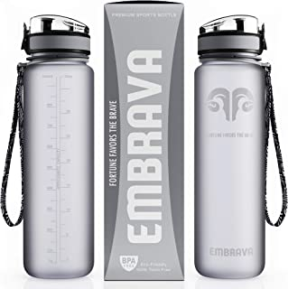 Embrava Best Sports Water Bottle - 32oz Large - Fast Flow, Flip Top Leak Proof Lid w/ One Click Open - Non-Toxic BPA Free & Eco-Friendly Tritan Co-Polyester Plastic