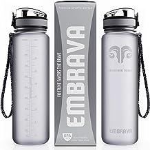Embrava Best Sports Water Bottle – 32oz Large – Fast Flow, Flip Top Leak..