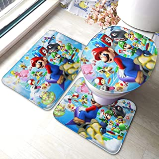 Super Mario Bathroom Mats Anti-Skid Absorbent 3 Piece Toilet Mat Set,Bath Mat Contour Rug Lid Cover