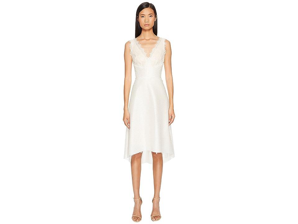 Marchesa Notte Striped Neoprene V-Neck High-Low Lace Dress (Ivory) Women