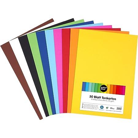 perfect ideaz 50feuilles de papier cartonné A3, carton de bricolage, teinté dans la masse, en 10coloris différents, grammage 210g/m², feuilles à qualité élevé
