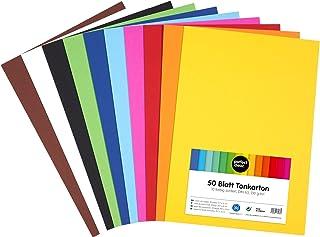 perfect ideaz 50feuilles de papier cartonné A3, carton de bricolage, teinté dans la masse, en 10coloris différents, gram...