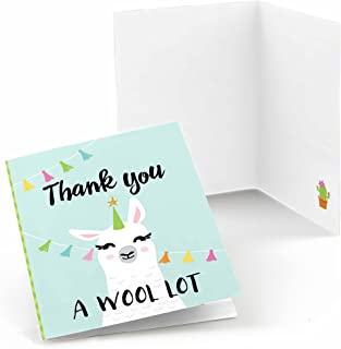 Big Dot of Happiness Whole Llama Fun - Llama Fiesta Baby Shower or Birthday Party Thank You Cards (8 Count)